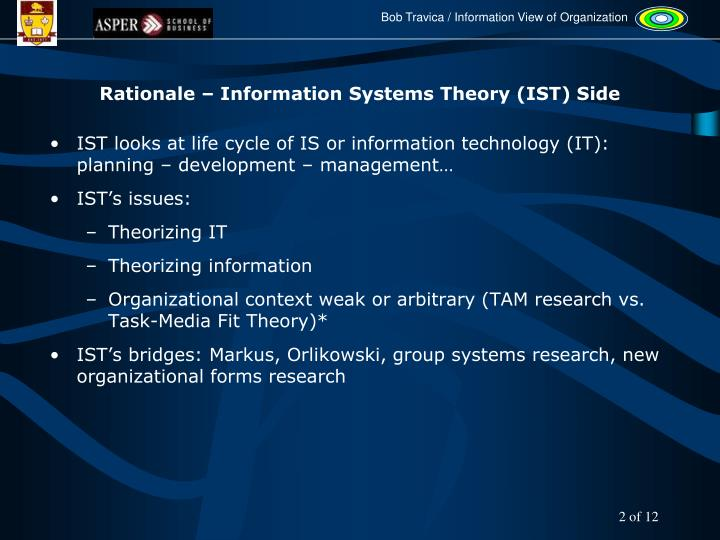 Rationale – Information Systems Theory (IST) Side