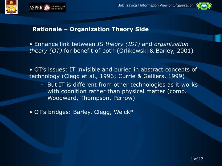 Rationale – Organization Theory Side