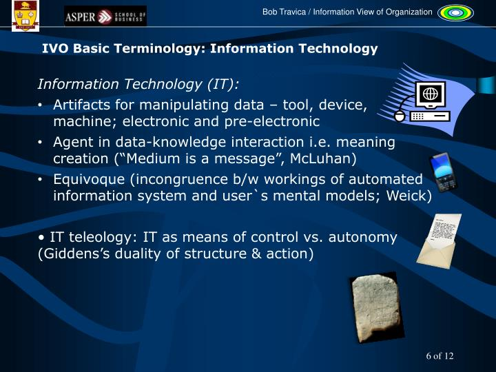 IVO Basic Terminology: Information Technology