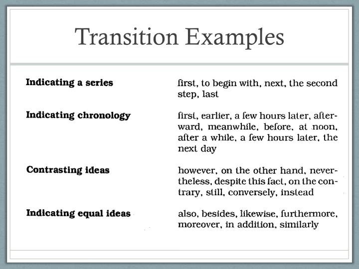 Transition Examples