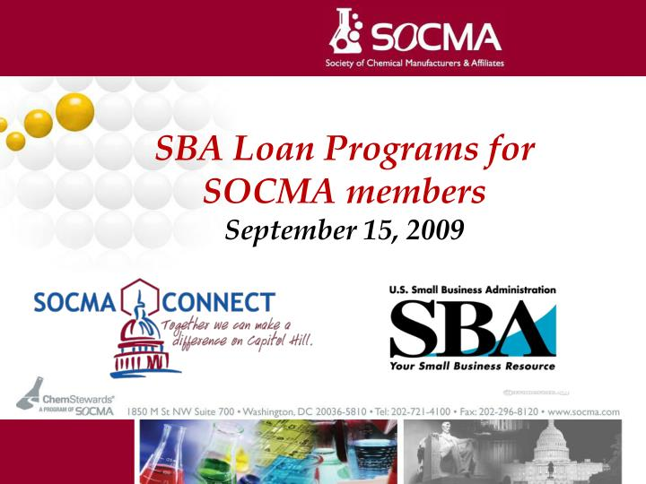 SBA Loan Programs for SOCMA members