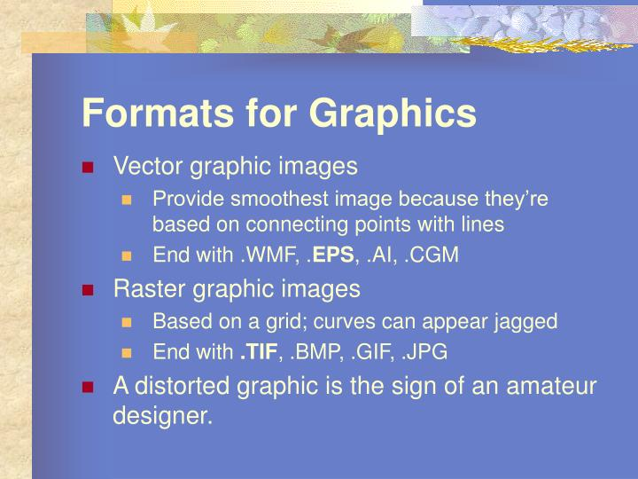 Formats for graphics