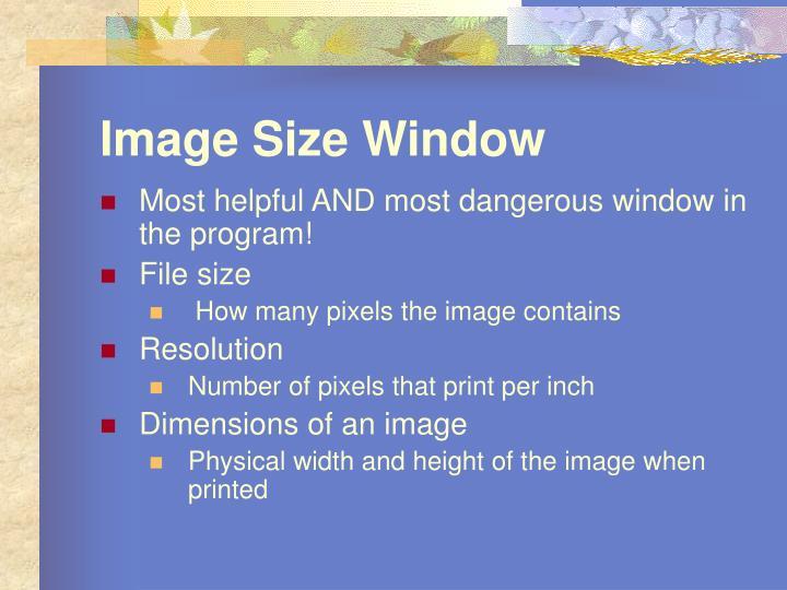 Image Size Window