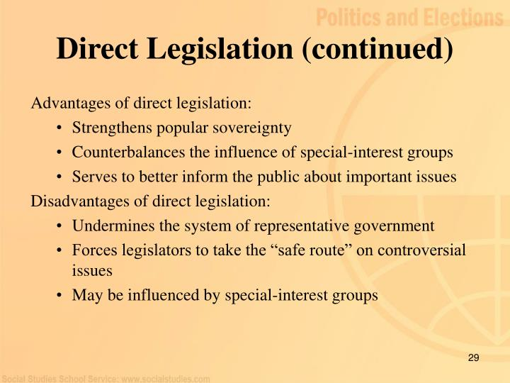 Direct Legislation (continued)
