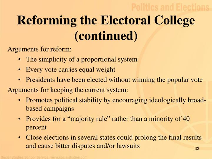 Reforming the Electoral College (continued)