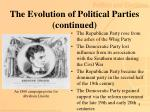 the evolution of political parties continued