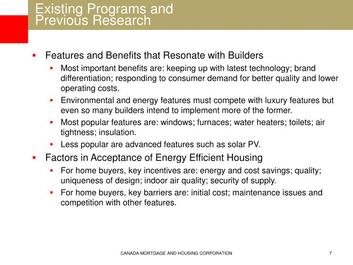 Existing Programs and