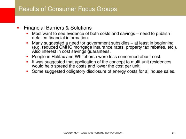 Results of Consumer Focus Groups