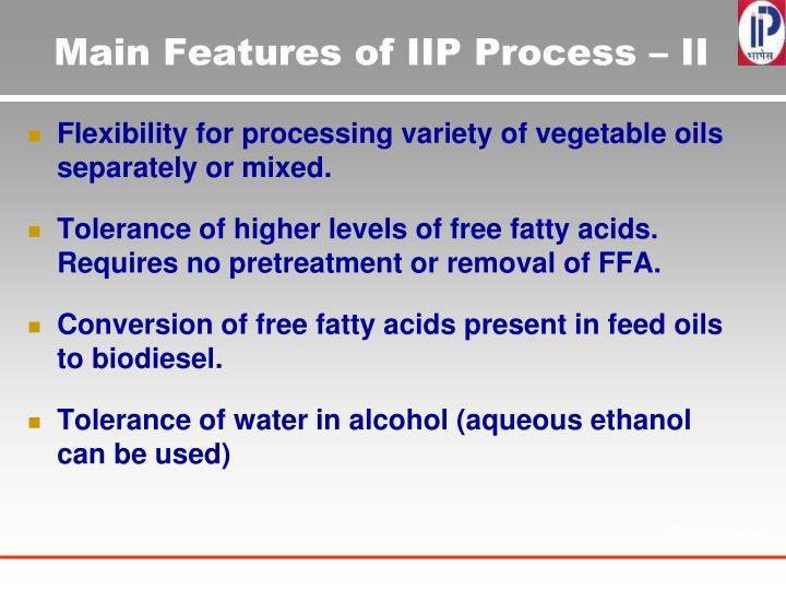 Main Features of IIP Process – II