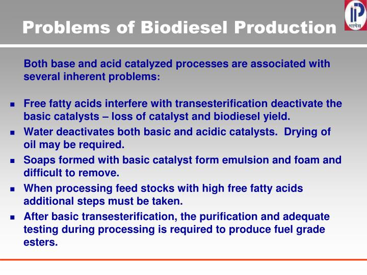 Problems of Biodiesel Production