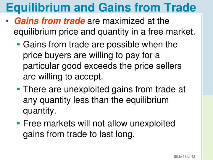 Equilibrium and Gains from Trade