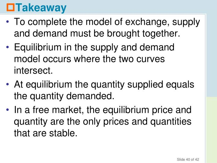 To complete the model of exchange, supply and demand must be brought together.