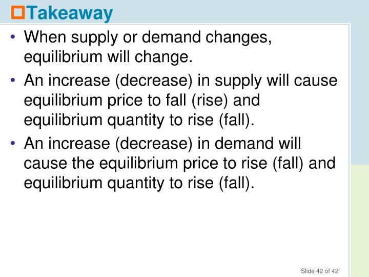 When supply or demand changes, equilibrium will change.