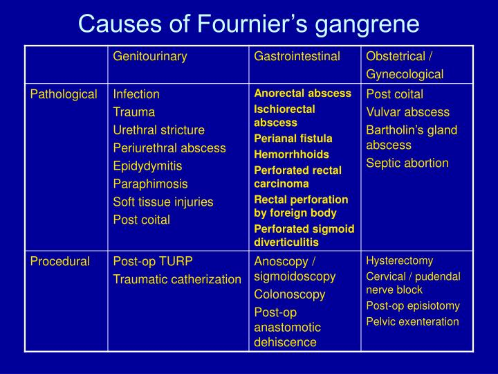 Causes of Fournier's gangrene
