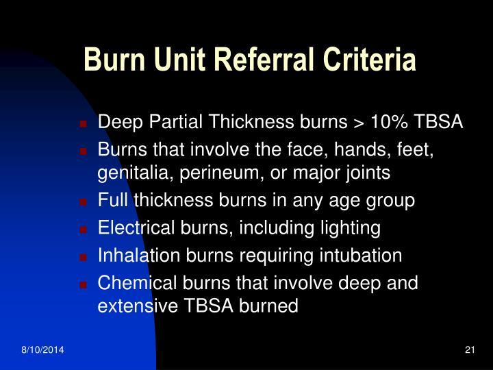 Burn Unit Referral Criteria