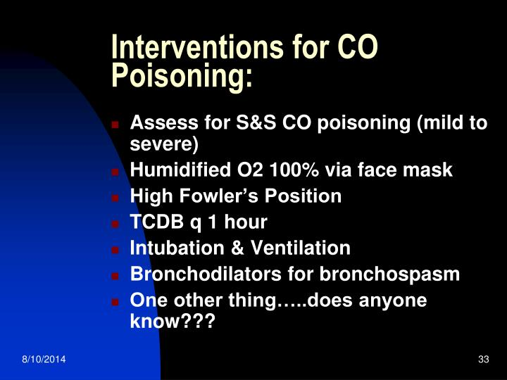 Interventions for CO Poisoning: