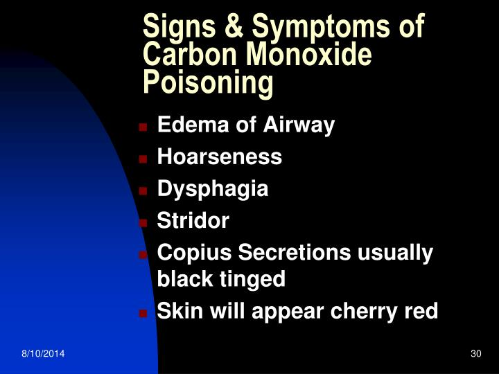 Signs & Symptoms of Carbon Monoxide Poisoning