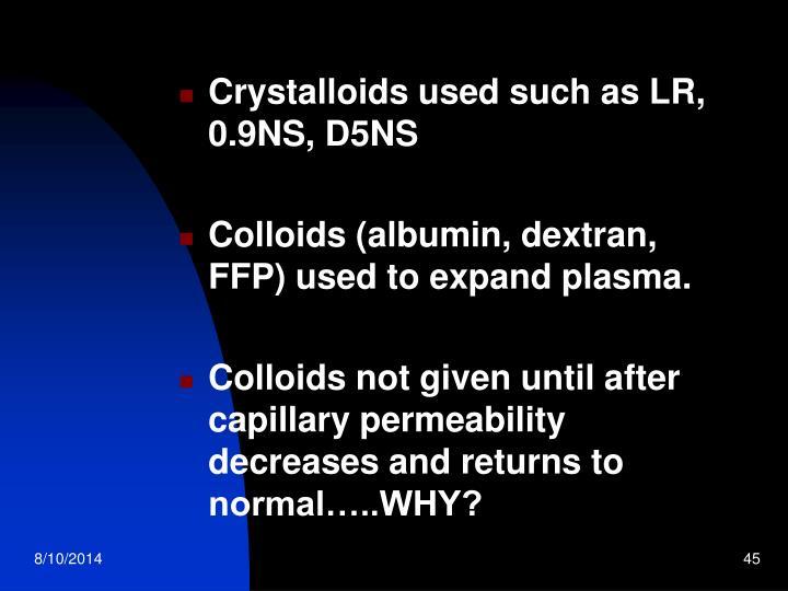 Crystalloids used such as LR, 0.9NS, D5NS