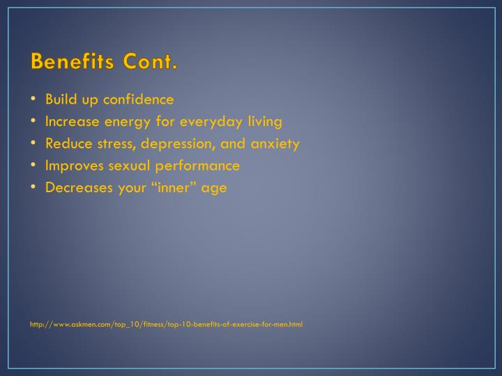 Benefits cont