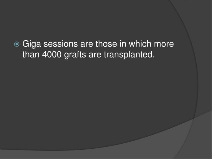 Giga sessions are those in which more than 4000 grafts are transplanted.