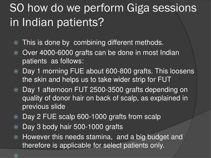 SO how do we perform Giga sessions in Indian patients?