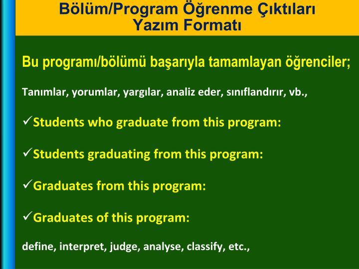 Bölüm/Program Öğrenme Çıktıları