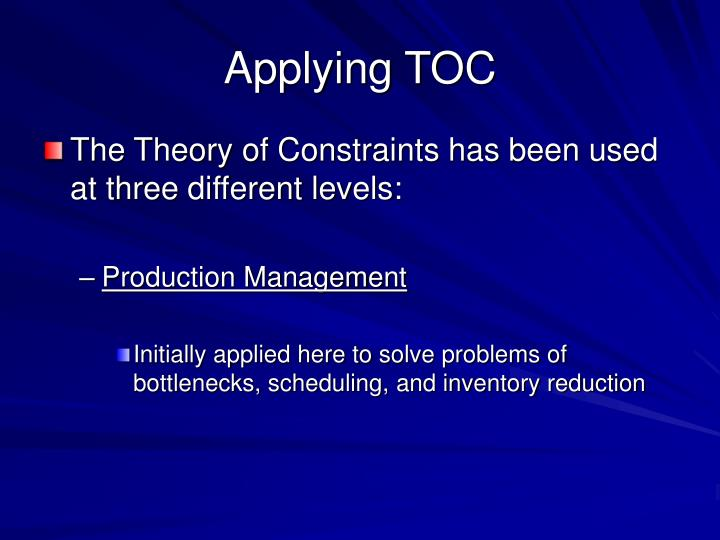 Applying TOC