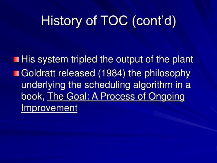 History of TOC (cont'd)