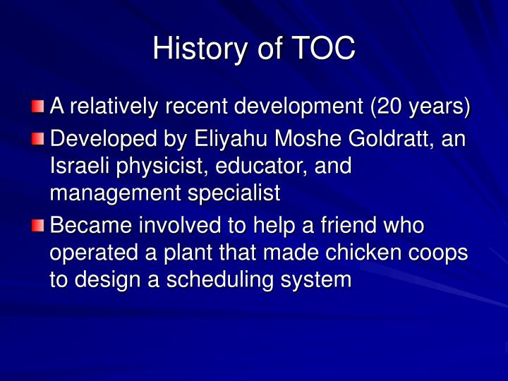 History of TOC