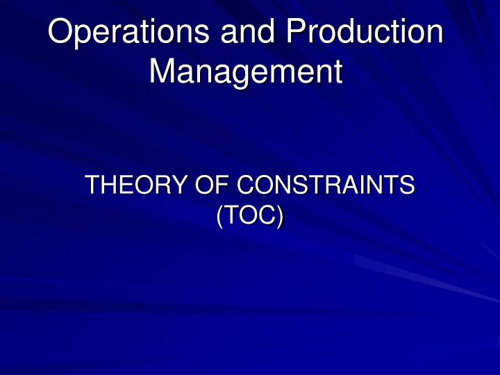 Operations and production management1