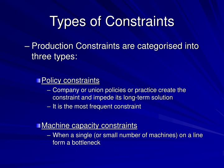 Types of Constraints