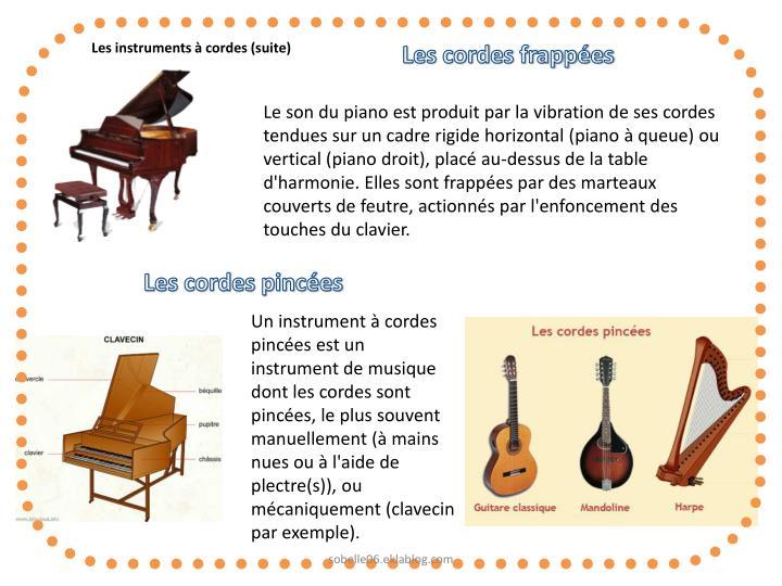Les instruments à cordes (suite)