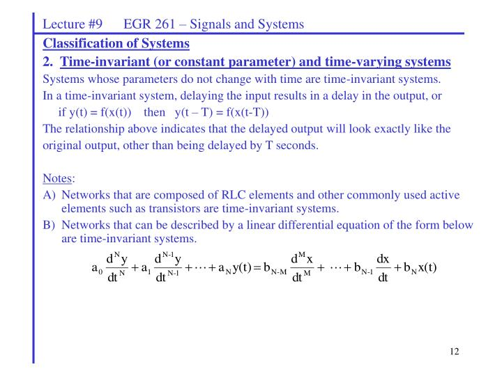 Lecture #9      EGR 261 – Signals and Systems