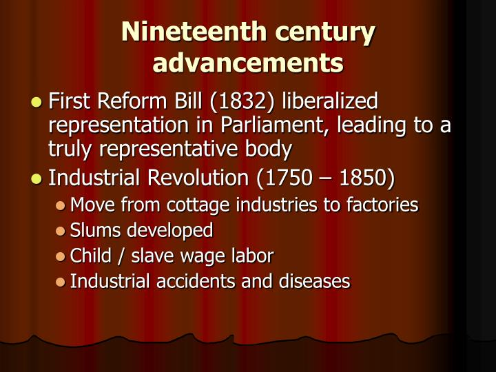 Nineteenth century advancements