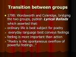 transition between groups