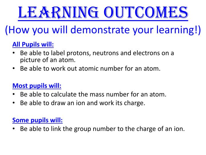 Learning outcomes how you will demonstrate your learning