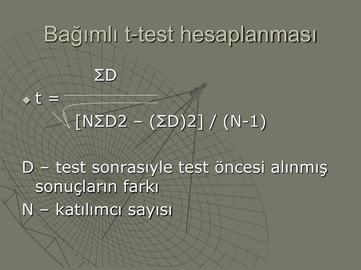 Bağımlı t-test hesaplanması