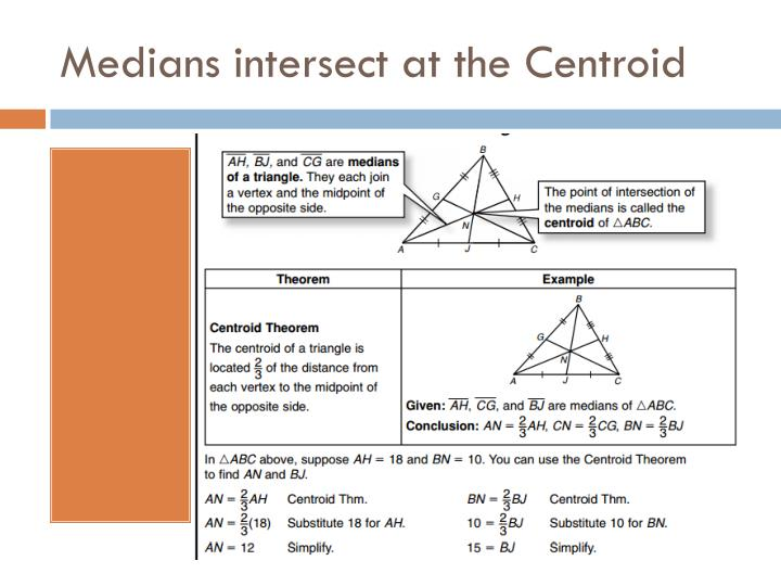 Medians intersect at the Centroid