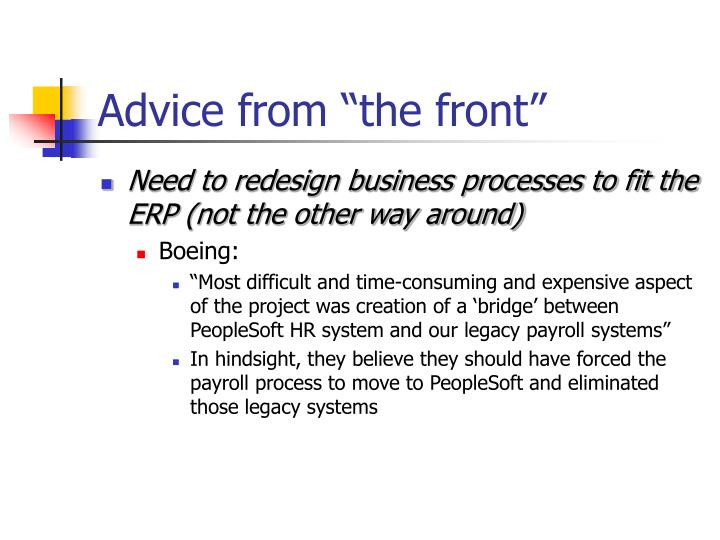 """Advice from """"the front"""""""