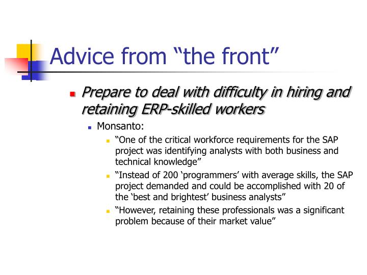 "Advice from ""the front"""