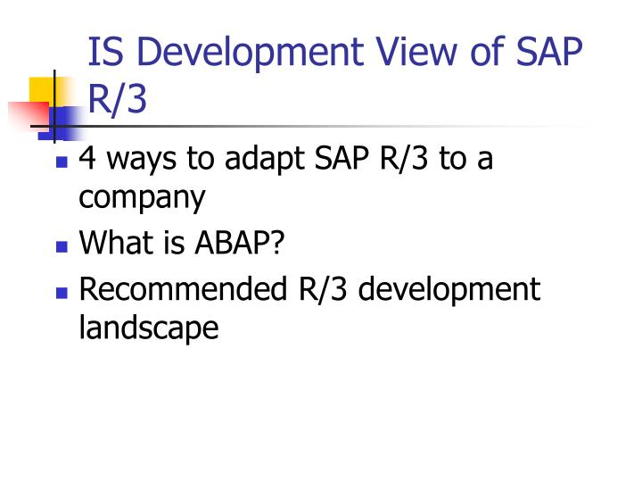 IS Development View of SAP R/3