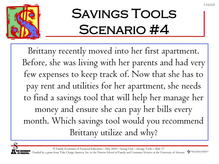 Savings Tools Scenario #4