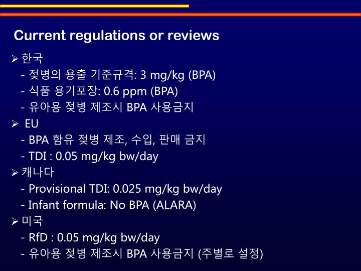 Current regulations or reviews