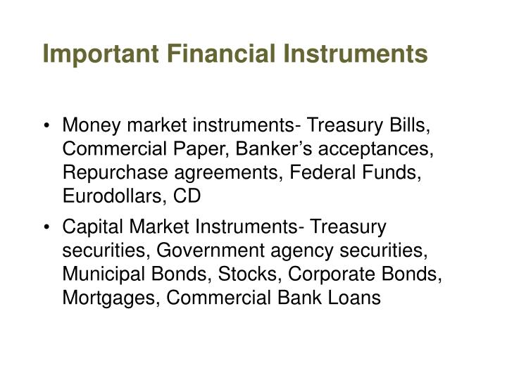 Important Financial Instruments
