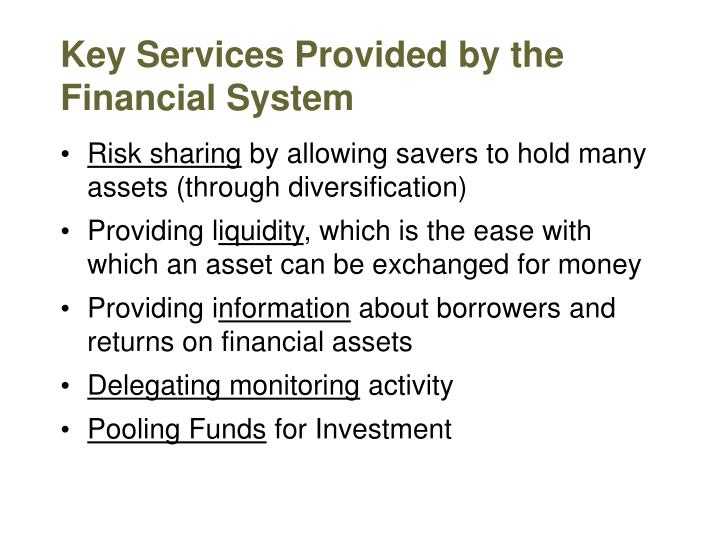 Key Services Provided by the Financial System
