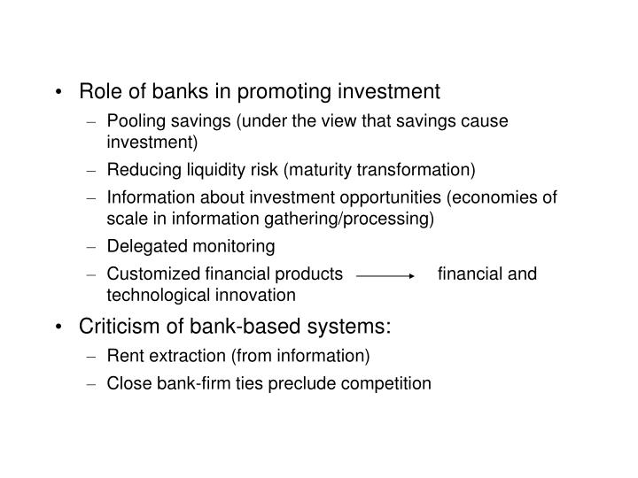 Role of banks in promoting investment
