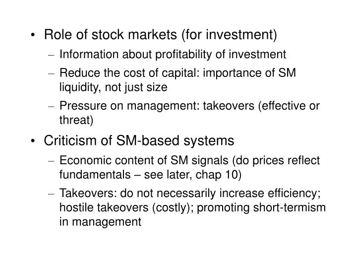 Role of stock markets (for investment)