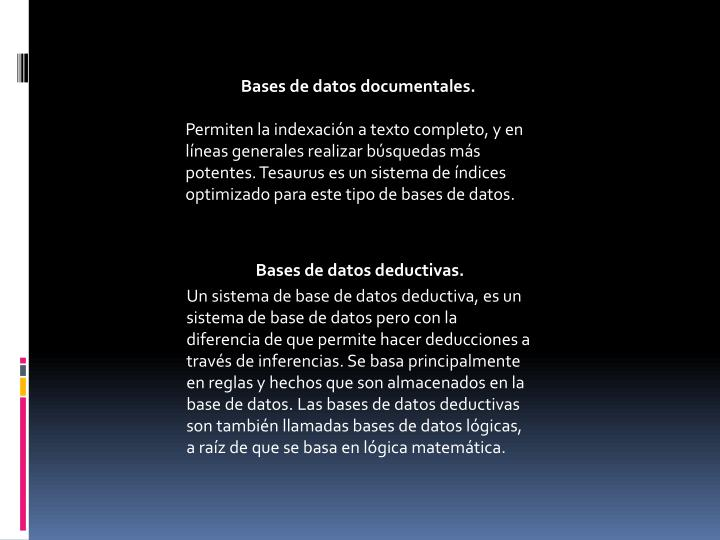 Bases de datos documentales.