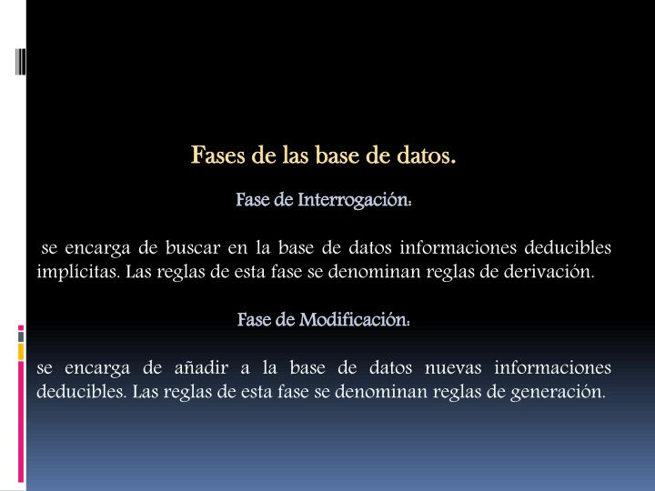Fases de las base de datos.