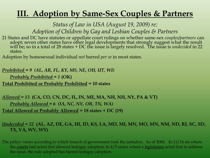 III.  Adoption by Same-Sex Couples & Partners